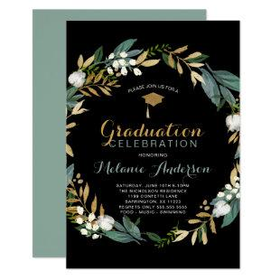 Greenery Wreath Graduation Party Invitation