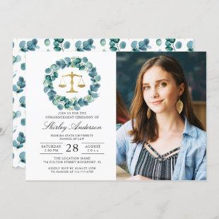Greenery Wreath Law School Graduation Photo Invitation