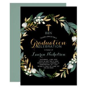 Greenery Wreath Nurse Graduation Party Invitation
