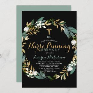 Greenery Wreath Nurse Pinning Ceremony Invitation