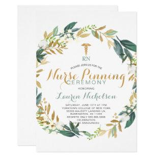 Greenery Wreath Nurse Pinning Graduation Invitation
