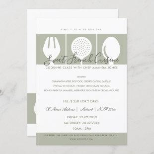 GREY SPOON FORK COOKERY CLASS INVITE TEMPLATE