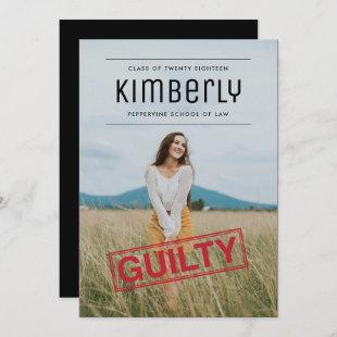 Guilty as Charged Law Dark Graduation Invitation