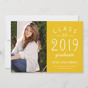 Hand Lettered Graduation Photo Announcement Yellow