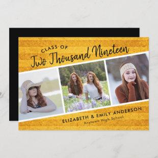 Handwritten Class of 2019 | 3 Photos Rustic Invitation