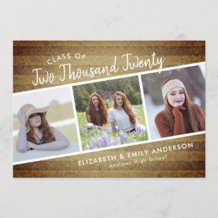 Handwritten Class of 2020 | 3 Photos Rustic Invitation
