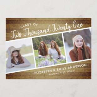 Handwritten Class of 2021 | 3 Photos Rustic Invitation