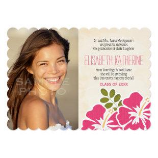 Hawaiian Graduation Announcements Invitations Pink
