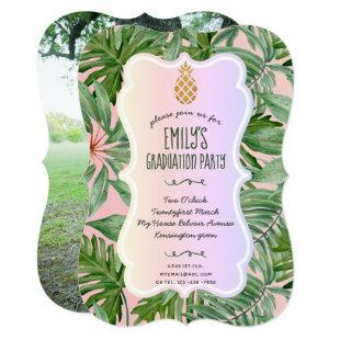 Hawaiian Graduation PHOTO Invitation Tropical Palm