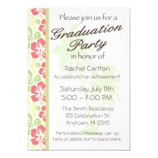 Hawaiian Luau Graduation Party Invitation