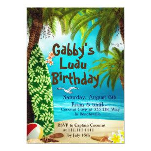 Hawaiian Party Invitation, Luau Party Invitations