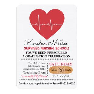 Heart Nursing School Graduation Invitations