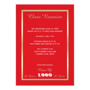 High School Class Reunion Bold Red Invitation