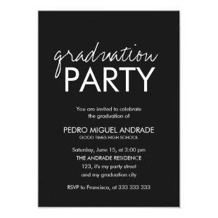High School Graduation Party Photo Black and White Invitation