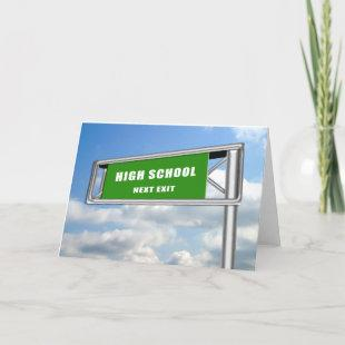 Highway Exit Sign Graduation High School Next Invitation