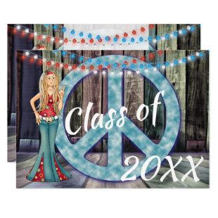 Hippie Girl, Peace Sign and Lights Graduation Invitation
