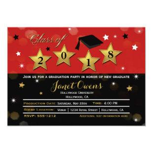 HOLLYWOOD GRADUATION Graduate Red Gold Invitation