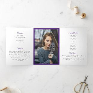 Horned Frog Purple Tassel Graduation Photo Tri-Fold Invitation