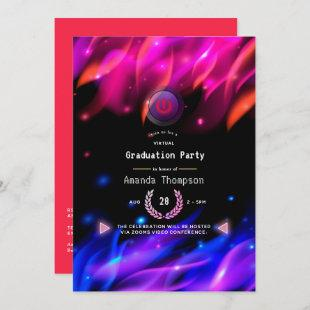 Hot Neon Glow Flames Virtual Graduation Party Invitation