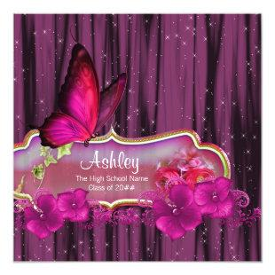 Hot Pink Butterfly Graduation Announcements