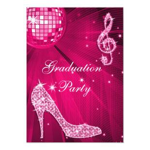 Hot Pink Disco Ball Sparkle Heels Graduation Invitation