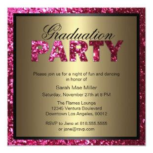 Hot Pink Glitter Graduation Party Invitation