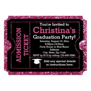 Hot Pink Glitz Graduation Party Ticket Invitation