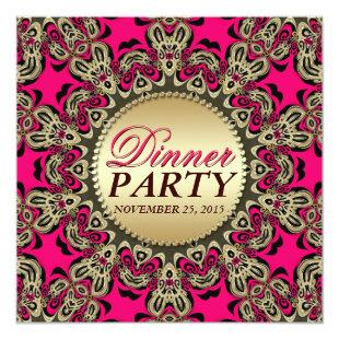 Hot Pink Gold Exotic Decorative Dinner Party Invitation