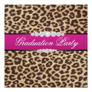 Hot pink Leopard Graduation Party Invitation
