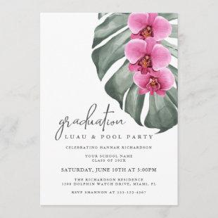 Hot Pink Orchids Tropical Graduation Pool Party Invitation
