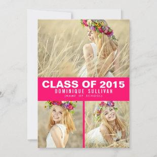 Hot Pink Photo Collage Graduation Party Invitation