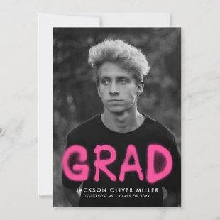 Hot Pink Spray Paint Typography Photo Graduation Announcement
