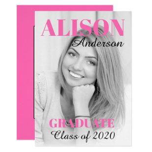 Hot pink typography Class of 2020 graduation photo Invitation