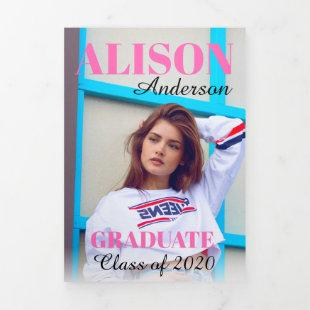 Hot Pink typography Class of 2020 graduation photo Tri-Fold Announcement