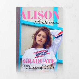 Hot Pink typography Class of 2021 graduation photo Tri-Fold Announcement