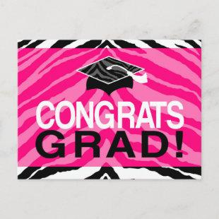 Hot Pink Zebra Congrats Girl's Graduation Party Invitation Postcard