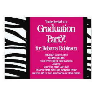 Hot Pink Zebra Graduation Party Invitation