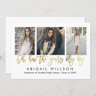 """""""How the years fly"""" Gold Script Graduation Party Invitation"""