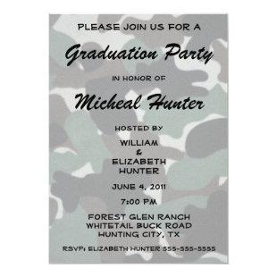 Hunter Camo Graduation Celebration Invitation