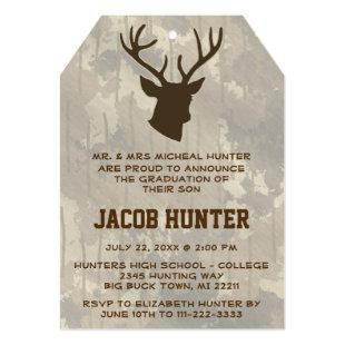 Hunting Brown Camo Deer Antlers Graduation Invitation