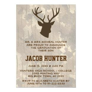 Hunting Brown Camo Deer Antlers Graduation Magnetic Invitation