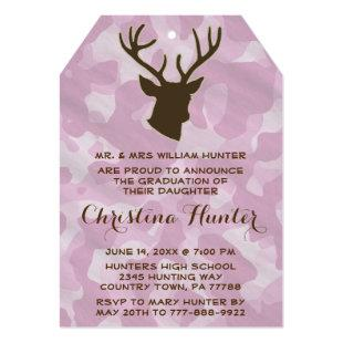 Hunting Camo Pink Deer Antlers Girls Graduation Invitation