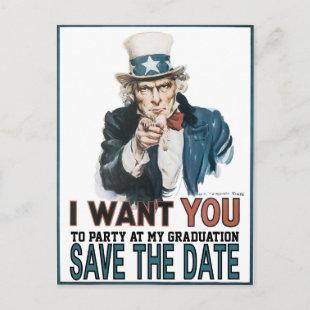 Iconic Vintage Uncle Sam Save The Date Graduation Announcement Postcard