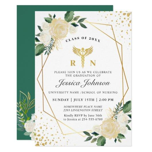 Ivory Golden Floral Nursing School Graduation Invitation
