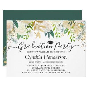 Ivory Greenery Gold Bloom Floral Graduation Party Invitation