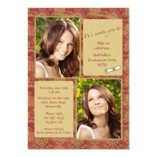 Jewel-tone Photo Graduation Invitation