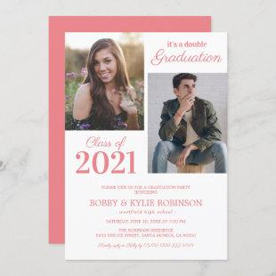 Joint Graduation Coral Pink Party Invitation
