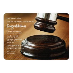 Judgement Gavel and Sound Block Graduation Invitation