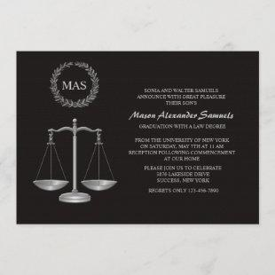 Justice Scale & Wreath Law School Graduation Inv Invitation