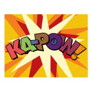 KA-POW Fun Retro Comic Book Pop Art Postcard